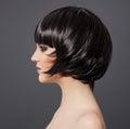 Mooie donkerbruine girl healthy hair hairstyle Stock Foto's