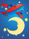 Moon and aeroplane illustration of a on white background Royalty Free Stock Photos