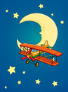 Moon and aeroplane illustration of a on white background Stock Photo