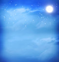 Moon in the blue night sky and stars Stock Images