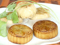 Moon cake in the dish chinese food for chinese mid autumn festival Stock Photos