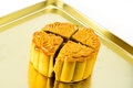 Moon cake on gold plate Stock Images