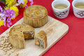 Moon cake with nuts and yolk inside Royalty Free Stock Photo