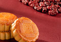 Moon cake the red theme nutrition and health Royalty Free Stock Images