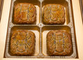 Moon cake traditional chinese in a box packaging Royalty Free Stock Photos