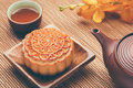 Moon cake of Vietnamese Chinese mid autumn festival food Royalty Free Stock Photo