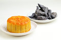 Moon cake with water caltrop Royalty Free Stock Image