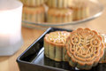 Moon cakes with green tea and red beans filling homemade Royalty Free Stock Photos