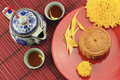 Moon cakes on red dish Royalty Free Stock Image
