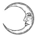 Moon with face engraving style vector illustration Royalty Free Stock Photo