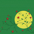 Moon and flower background Royalty Free Stock Photos