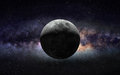 Moon and galaxy an image of half against the center of milky way Royalty Free Stock Image