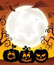 Moon with Halloween pumpkin silhouettes Royalty Free Stock Photo