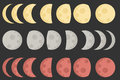Moon icon and illustration with different color Royalty Free Stock Photography