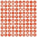 100 moon icons hexagon orange