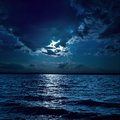 Moon light over darken water Royalty Free Stock Image