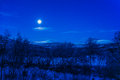 Moon magic full in northern finland copied from color slide film Stock Photography