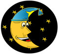 Moon with night cap Royalty Free Stock Image