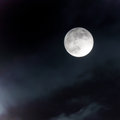 Moon at night sky full lightening clouds black Royalty Free Stock Images
