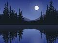 Moon Over Calm Lake