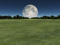 Moon over green landscape with forest Royalty Free Stock Photography