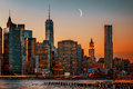Moon over Manhattan Royalty Free Stock Photo