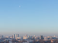 Moon over minsk belarus jan on a winter day Royalty Free Stock Image