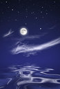 Moon over sea at night the Royalty Free Stock Photo