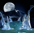 Moon over water Royalty Free Stock Images