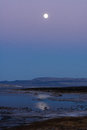 Moon rise over mono lake at eastern sierra s Stock Images