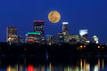 Moon Rises over Minneapolis Skyline Royalty Free Stock Photo