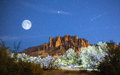 Moon Rises over Superstition Mountains Royalty Free Stock Photo
