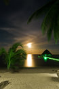 Moon rising night scene with the on the caribbean coast with stars clouds and moving palm trees Royalty Free Stock Photo