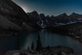 Moon rising over Lake Moraine Royalty Free Stock Photo
