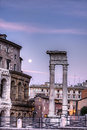 Moon and roman ruins rome italy Stock Photography