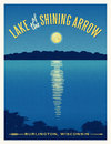 Moon shining reflection on lake travel poster Royalty Free Stock Photo