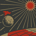 The moon in the space above the earth red flag showing russian dream to conquer Stock Photo