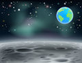 Moon space earth background c surface landscape with stars craters and planet in the Stock Photo