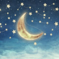 Moon and star at night illustration of a sky with fantastic Stock Image