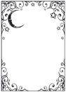 Moon stars filigree frame with and Stock Photography