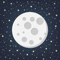 Moon with Stars in flat dasign style. Vector illustration.