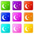 Moon and stars icons 9 set