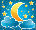 Moon and stars illustration Stock Photography