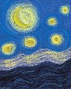 Moon and stars impressionism painting abstract a five hanging in the sky with a sea below them Stock Photo