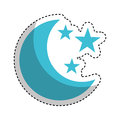 Moon with stars isolated icon