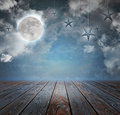 Moon and stars night background backdrop a are in the sky with wood on the bottom copyspace area to add your text message Royalty Free Stock Image