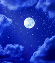Moon Stars Night Sky Stock Photos