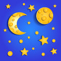 Moon and stars scrap booking decorative background Stock Photography