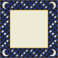 Moon and stars square frame featuring a checker design with an area for content Royalty Free Stock Photography