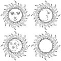 Moon and Sun  with human faces. Vector illustration. Royalty Free Stock Photo